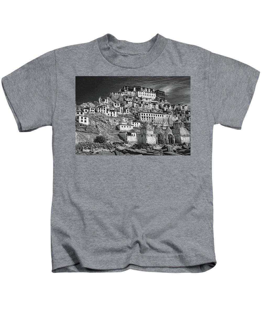 Ladakh Kids T-Shirt featuring the photograph Thiksey Monastery by Steve Harrington