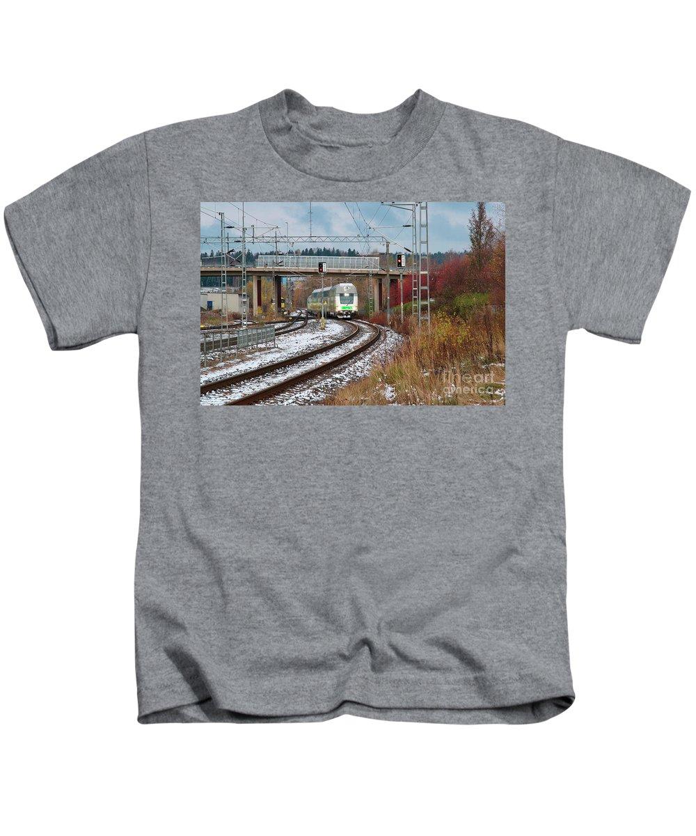 Train Kids T-Shirt featuring the photograph Train by Esko Lindell
