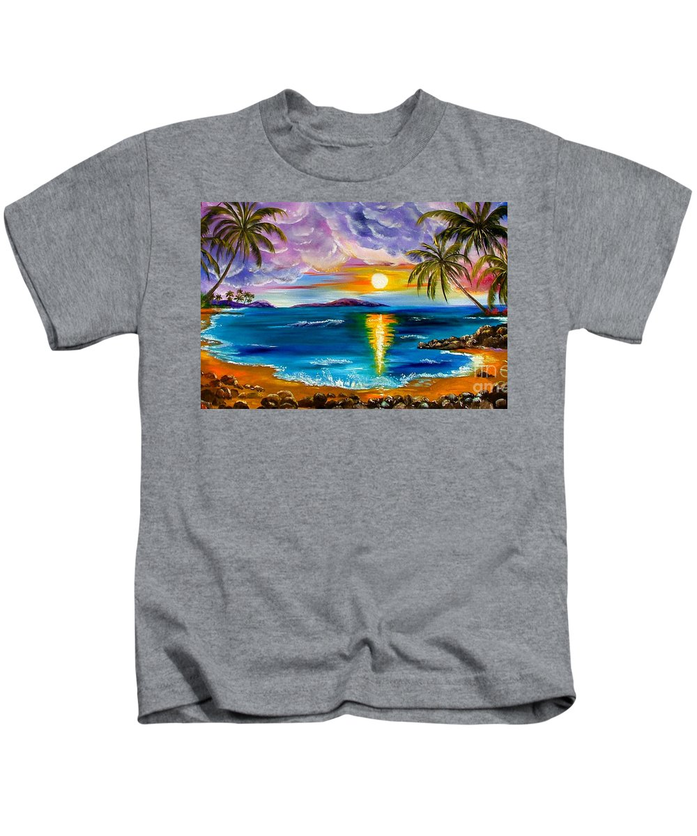 Hawaii Kids T-Shirt featuring the painting Tropical Sunset by Inna Montano
