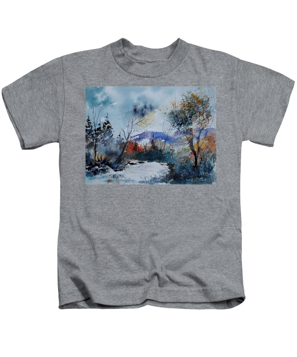 Winter Kids T-Shirt featuring the painting Watercolor 802120 by Pol Ledent