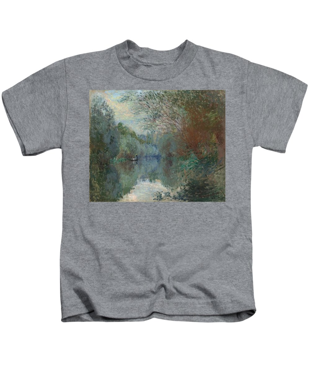 Claude Monet (1840-1926) Kids T-Shirt featuring the painting Willows At The Edge Of The Yerres by Claude Monet