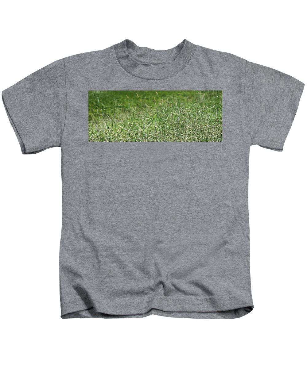 Green Kids T-Shirt featuring the photograph 2008 Crab Grass Mead by Arvydas Zilys