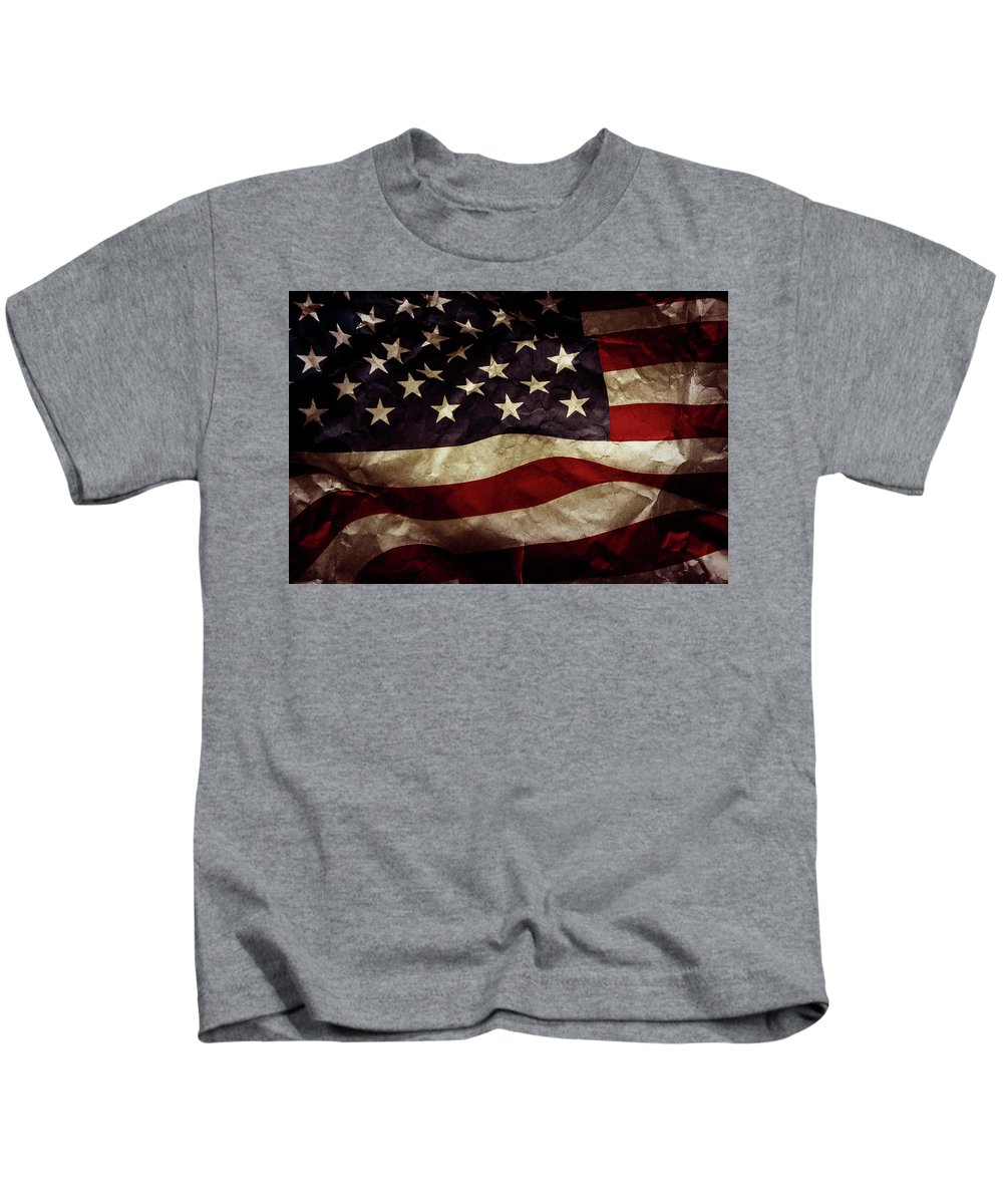 American Flag Kids T-Shirt featuring the photograph American Flag by Les Cunliffe