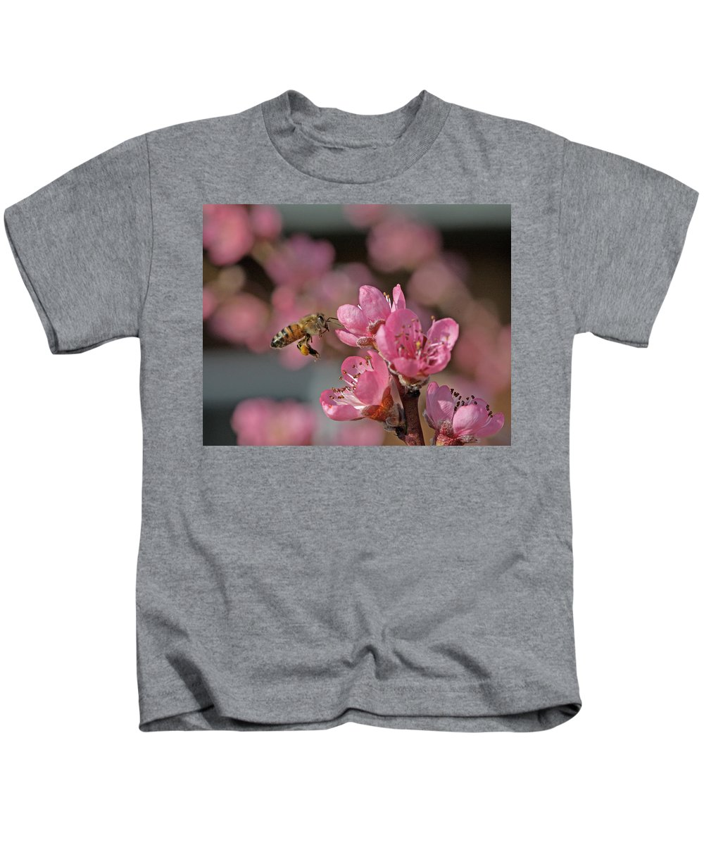 Honeybee Kids T-Shirt featuring the photograph Honeybee by Gary Wing