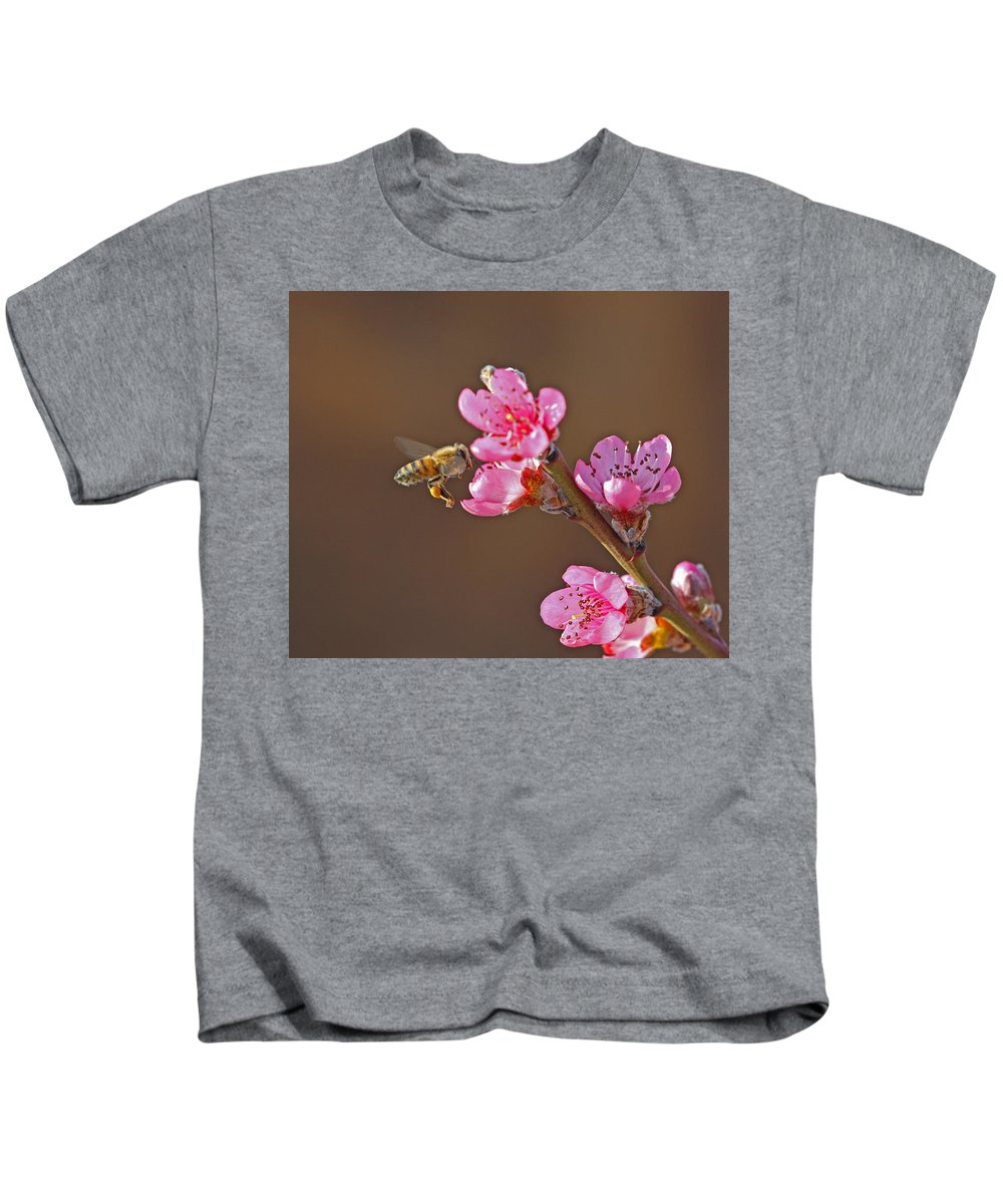 Honeybee Kids T-Shirt featuring the photograph Honeybee by Gary Wing