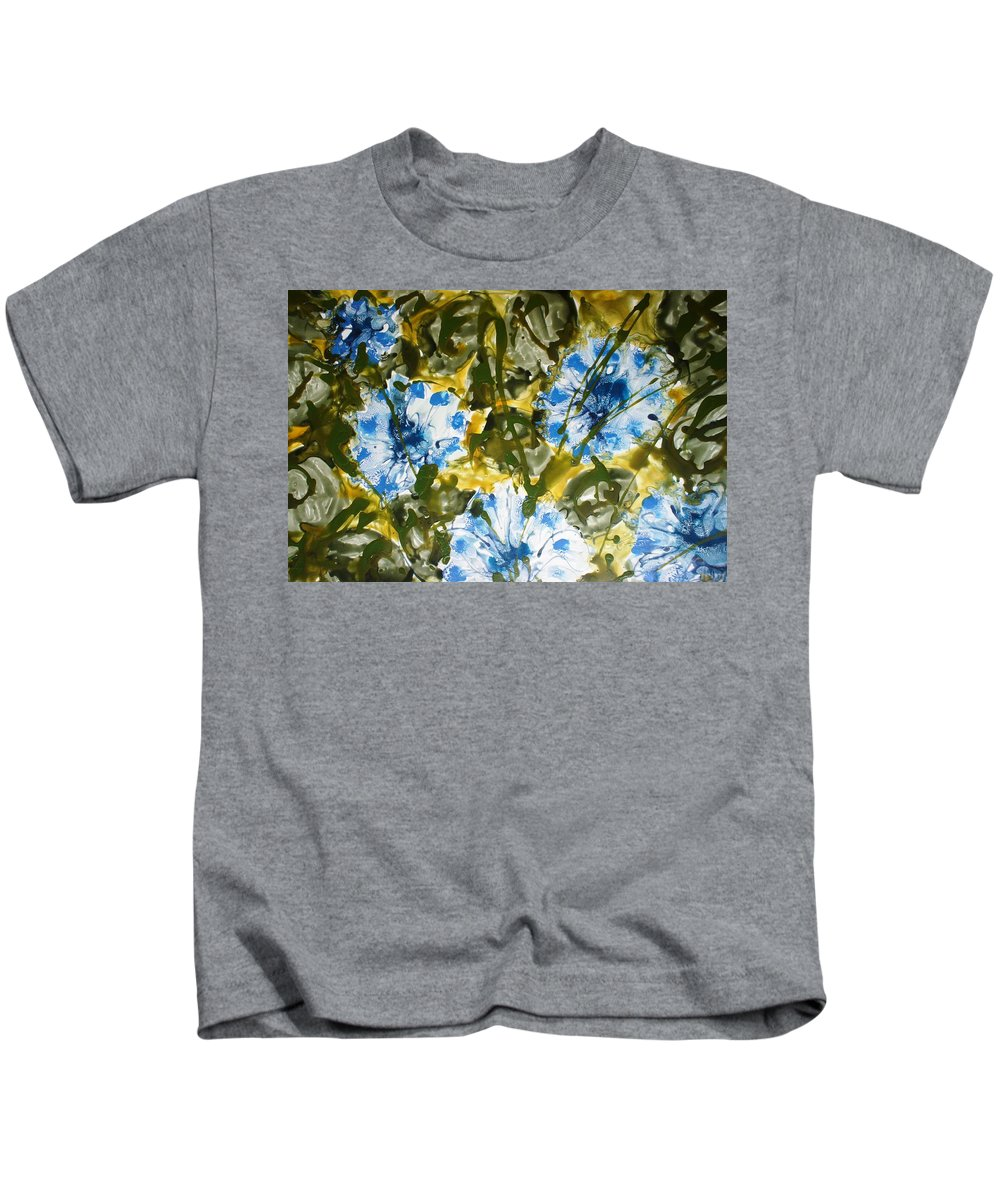 Flowers Kids T-Shirt featuring the painting Divine Blooms by Baljit Chadha