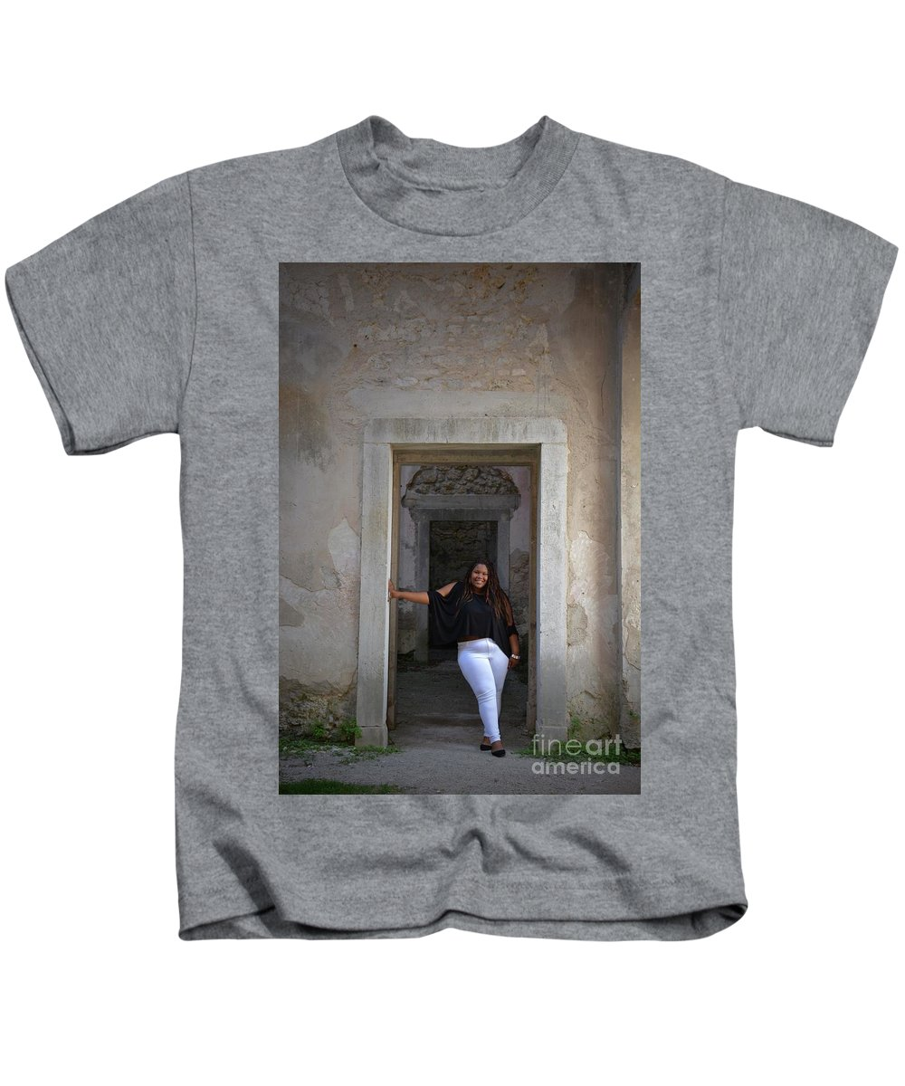 Braelyn Kids T-Shirt featuring the photograph Golden Hour Senior by Photos By Zulma