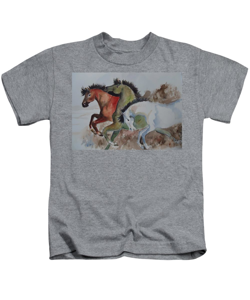 Horses Kids T-Shirt featuring the painting 3 Amigos by Charme Curtin