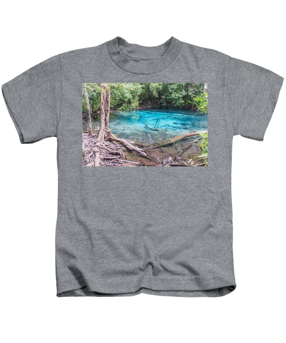 Kids T-Shirt featuring the photograph Blue Pool by Jijo George