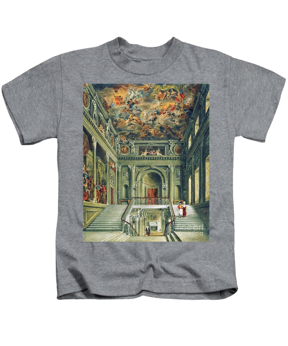 James Stephanoff - Buckingham House Kids T-Shirt featuring the painting Buckingham House by MotionAge Designs