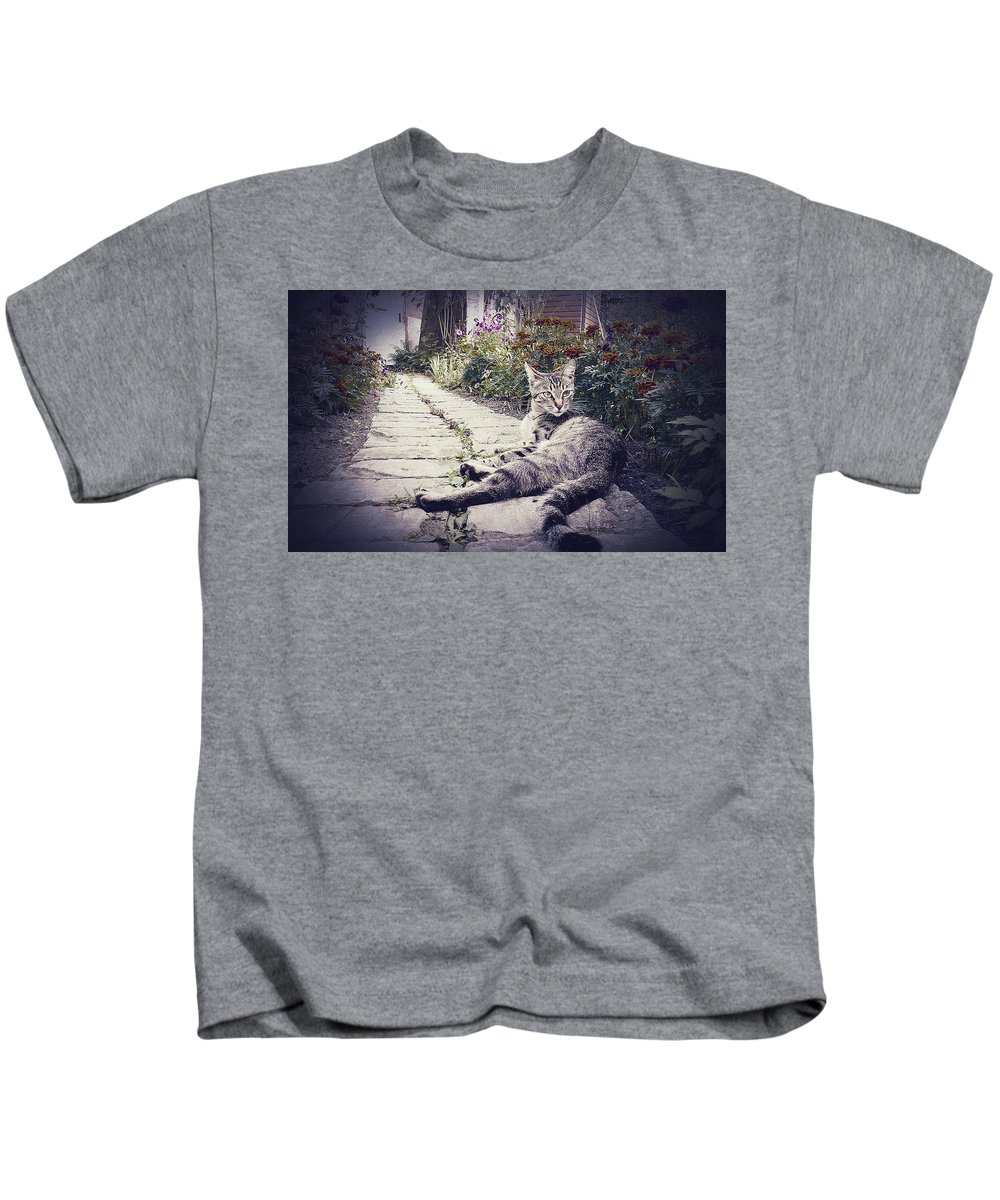 Cat Kids T-Shirt featuring the digital art Cat by Dorothy Binder