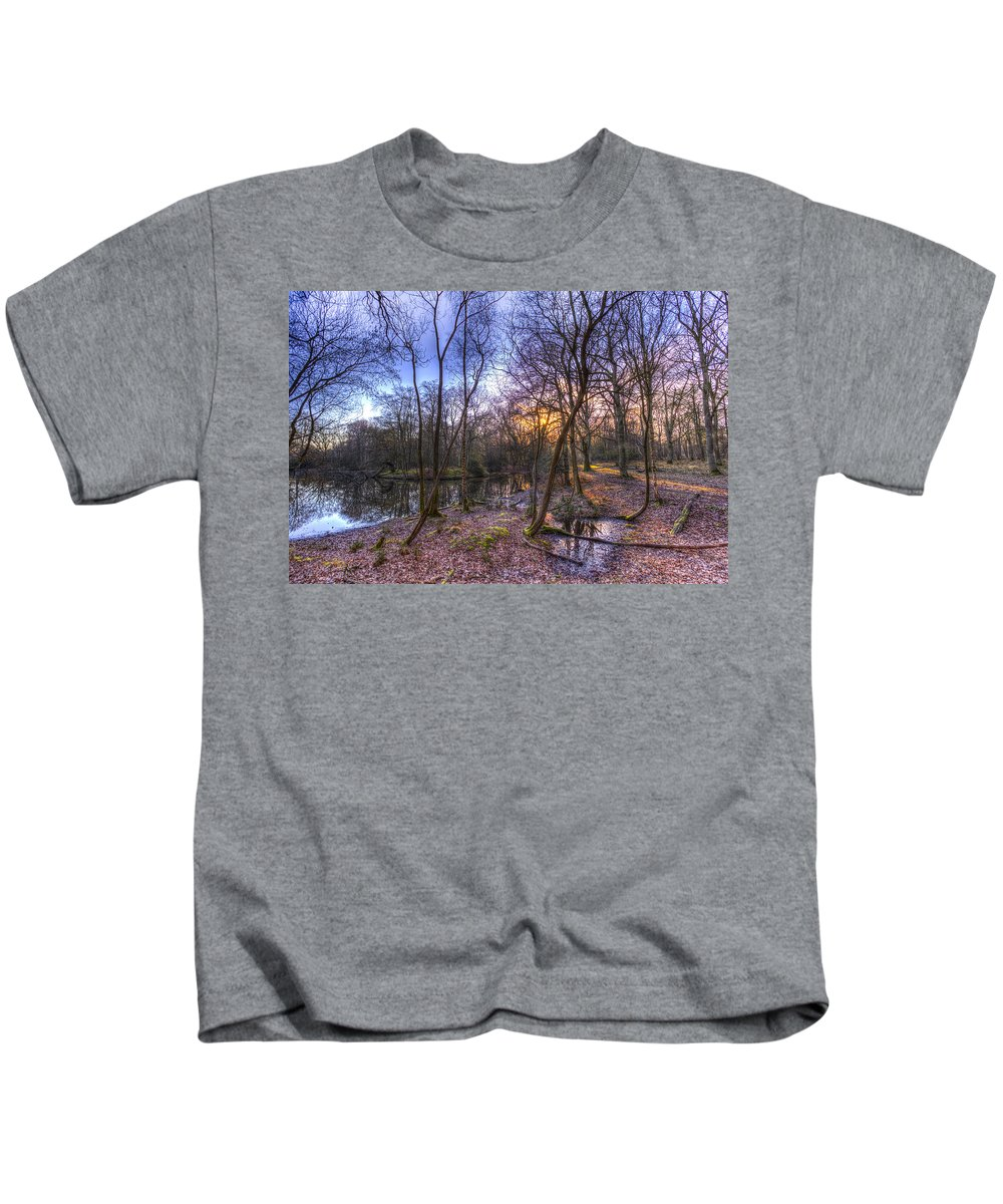 Frost Kids T-Shirt featuring the photograph Early Morning Forest Pond by David Pyatt