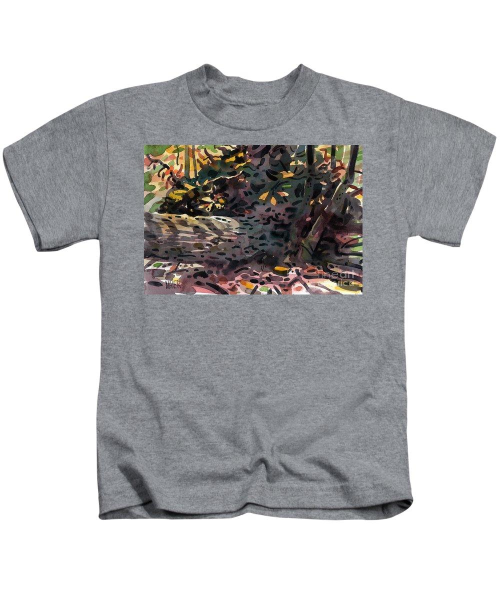 Oak Kids T-Shirt featuring the painting Fallen Oak by Donald Maier