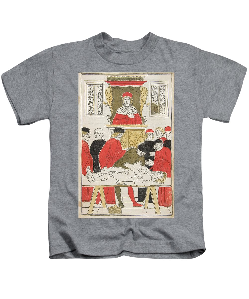 Fasciculo Di Medicina Kids T-Shirt featuring the painting Possibly Johannes De Ketham by MotionAge Designs