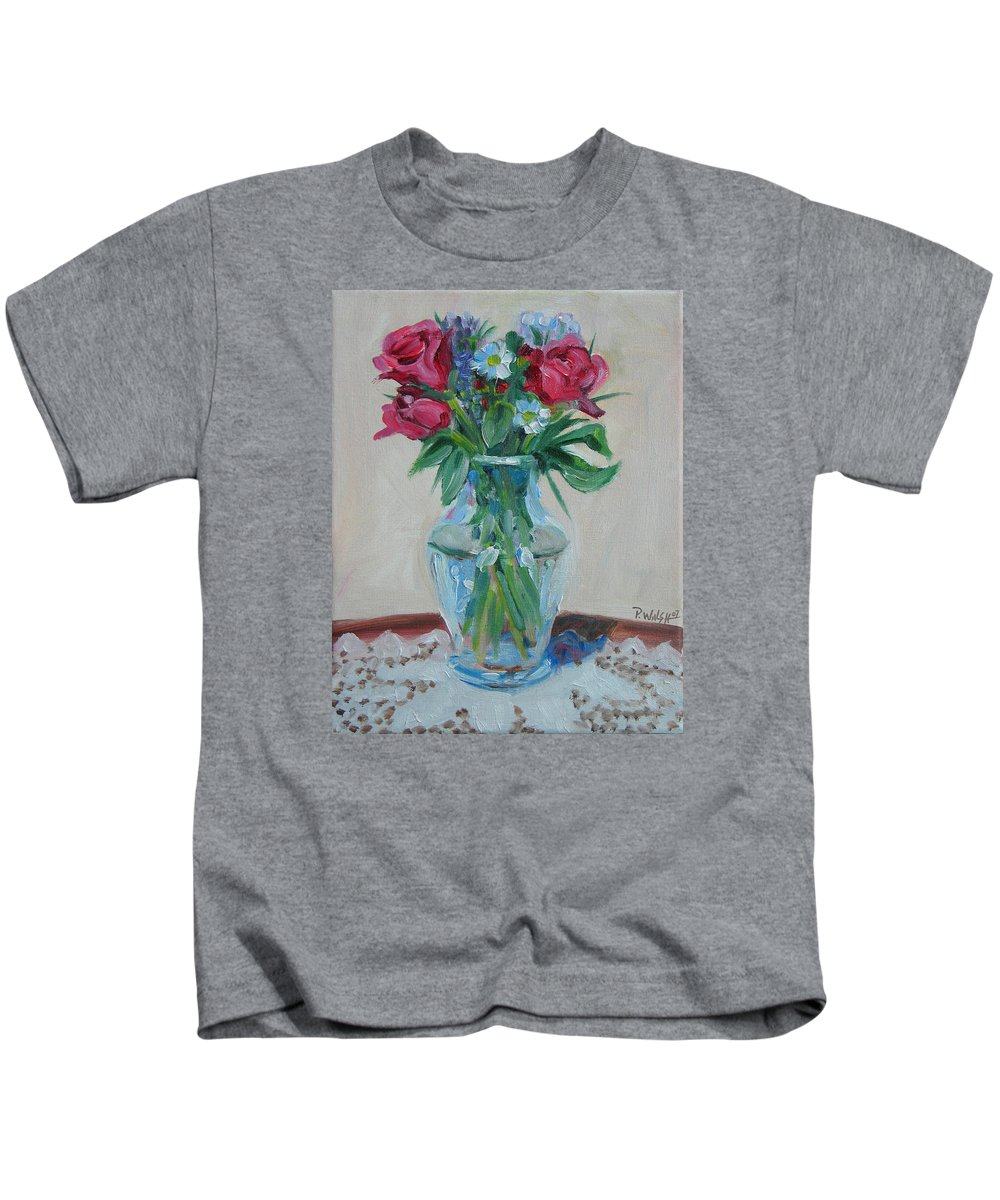 Roses Kids T-Shirt featuring the painting 3 Roses by Paul Walsh