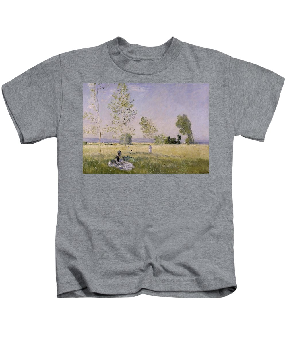 Summer  By Claude Monet Kids T-Shirt featuring the painting Summer  by MotionAge Designs