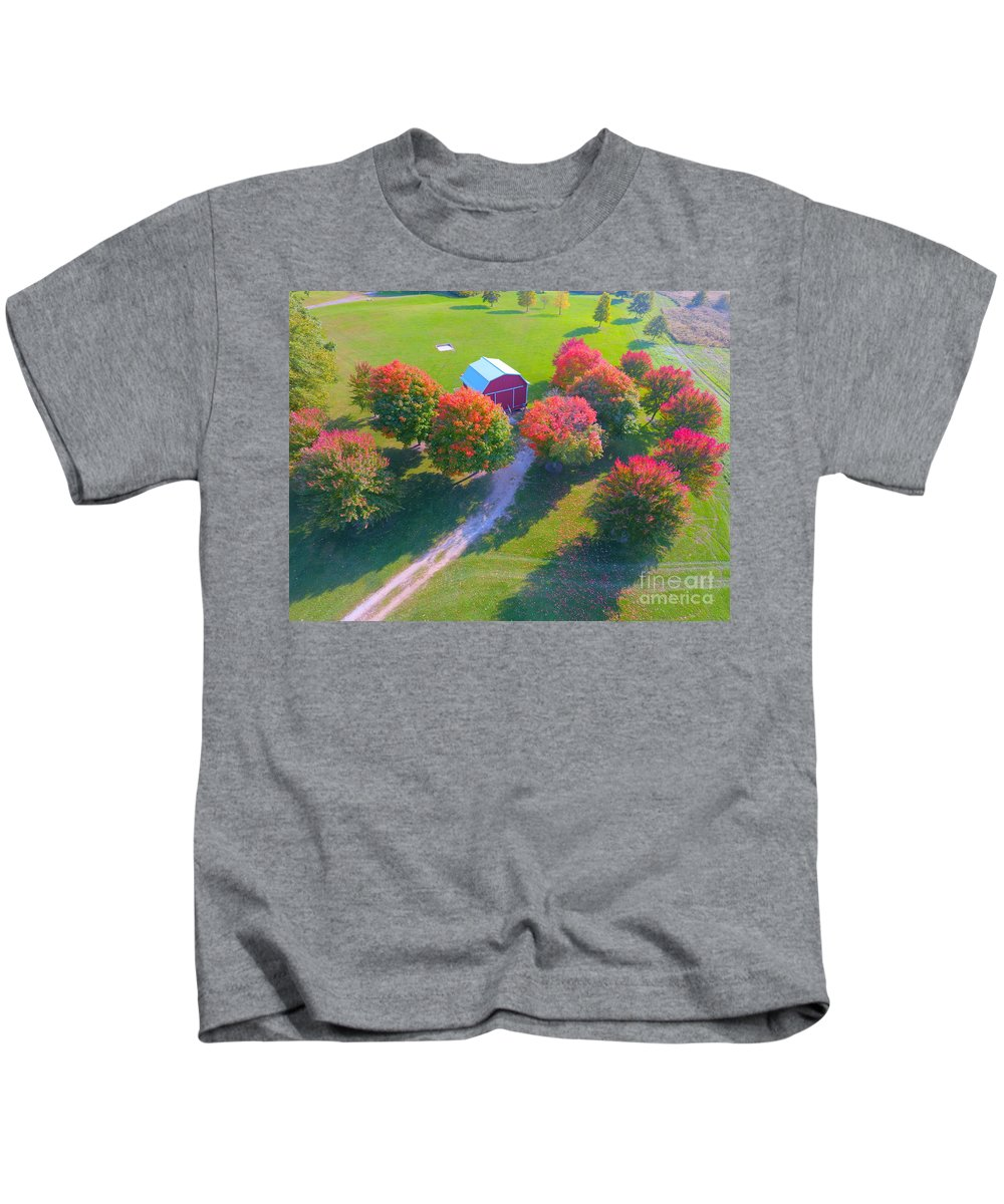 Sunset Hill Farms Indiana Kids T-Shirt featuring the photograph Sunset Hill Farms Indiana by Timeless Aerial Photography LLC