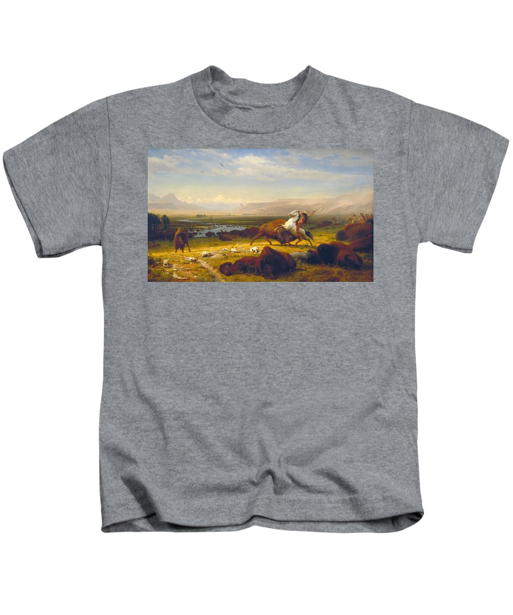 The Last Of The Buffalo Kids T-Shirt featuring the painting The Last Of The Buffalo by Albert Bierstadt