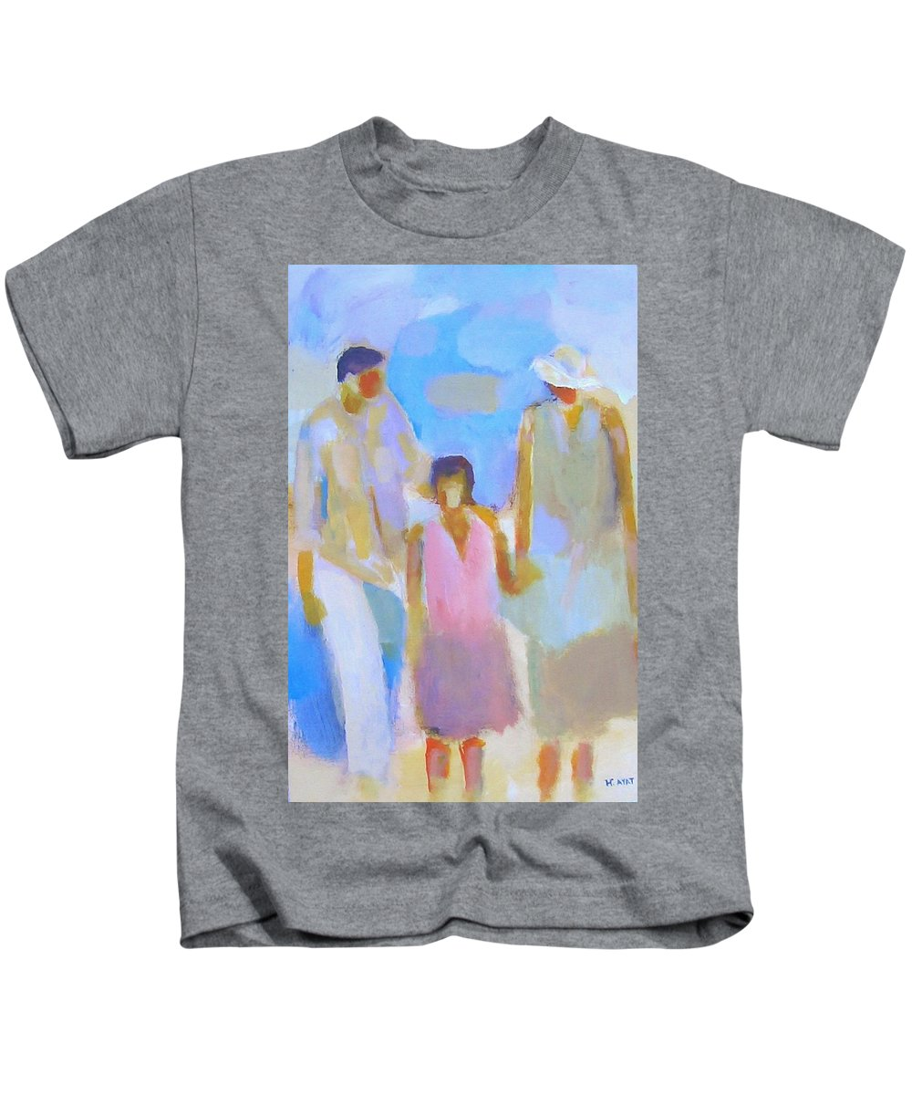 Abstract Kids T-Shirt featuring the painting 3 With Love by Habib Ayat