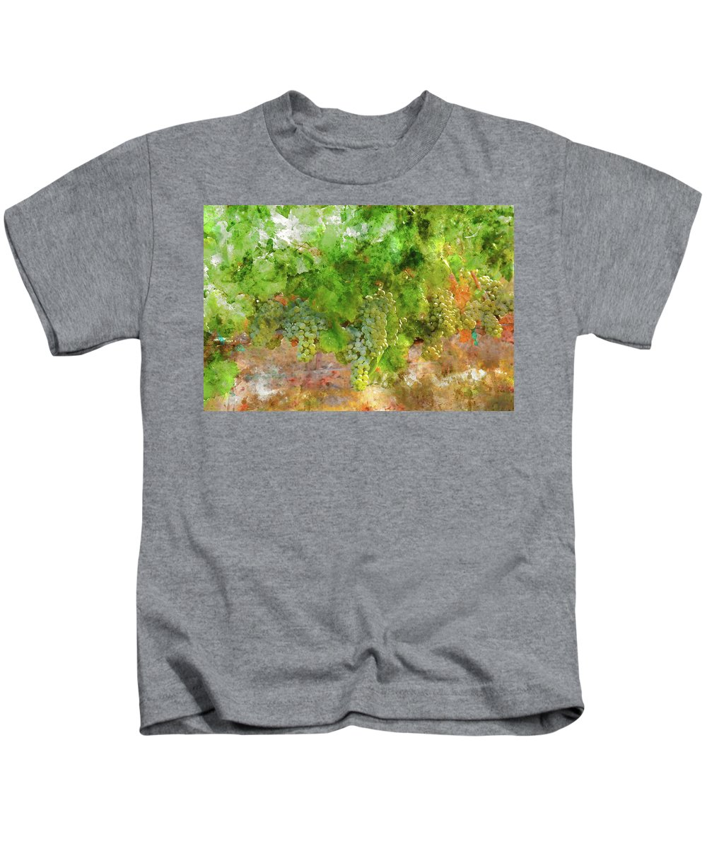 Red Wine Kids T-Shirt featuring the photograph Chardonnay Grapes Close Up by Brandon Bourdages