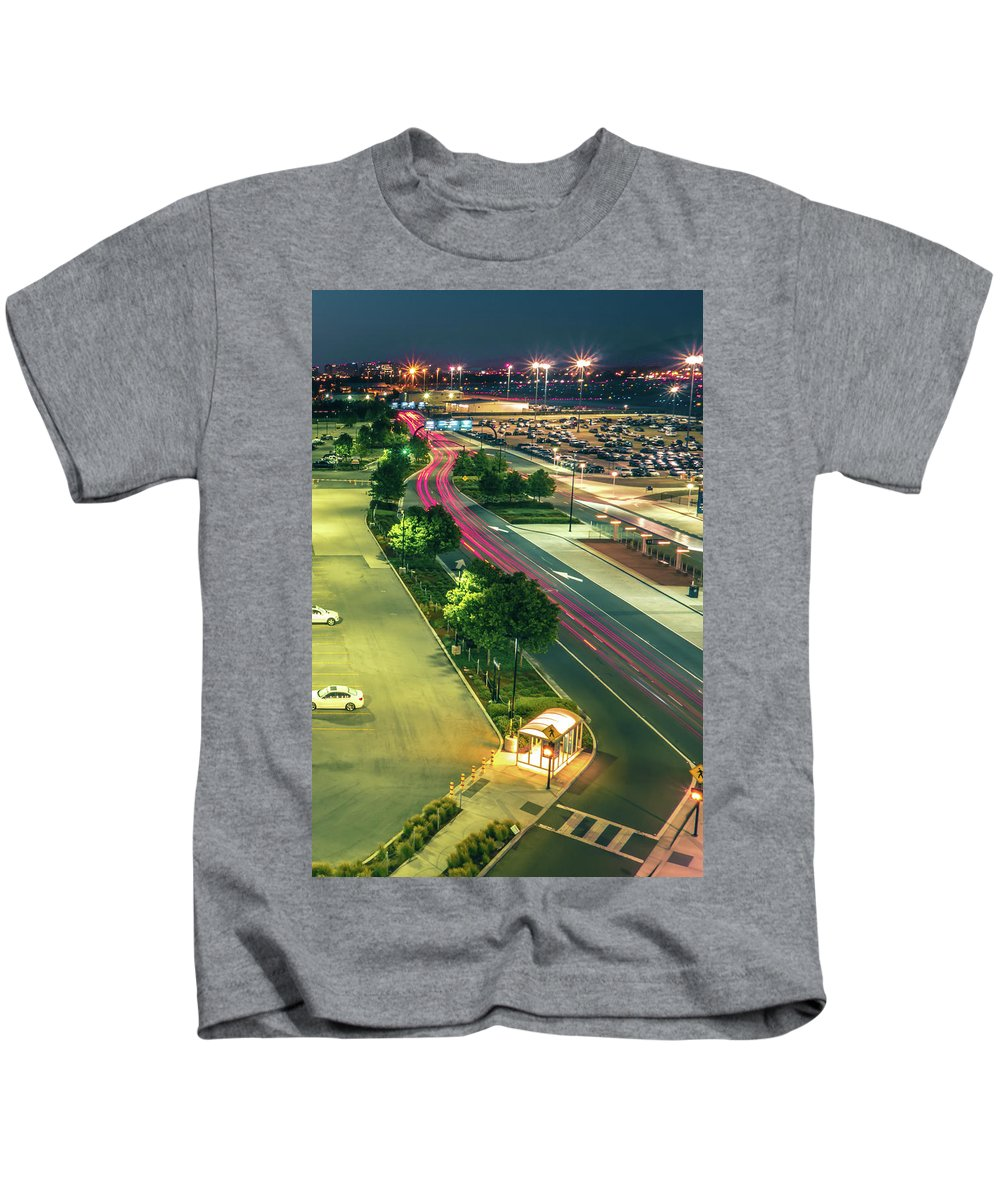 Morning Kids T-Shirt featuring the photograph Early Morning Scenes At San Jose California International Airpor by Alex Grichenko