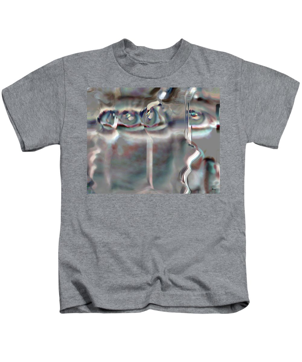 Eyes Abstract Spooky Grey Gray Weird Faces Kids T-Shirt featuring the photograph 4 Eyes by Andrea Lawrence