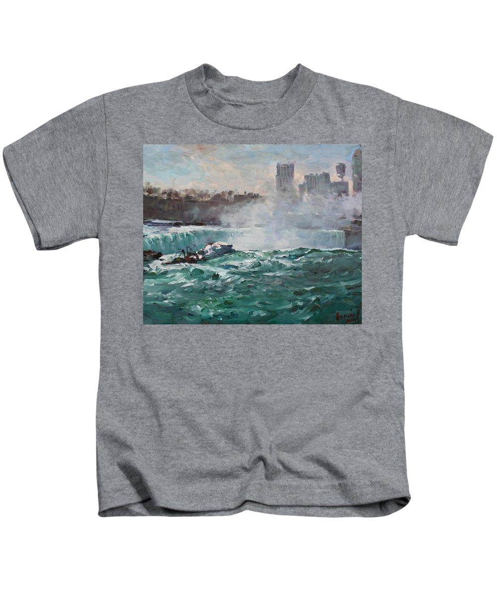 Niagara Falls Landscape Kids T-Shirt featuring the painting Niagara Falls by Ylli Haruni