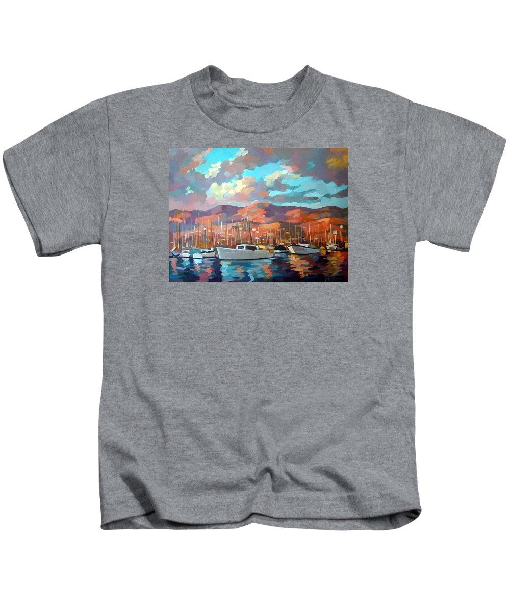 Boats Kids T-Shirt featuring the painting Santa Barbara by Filip Mihail