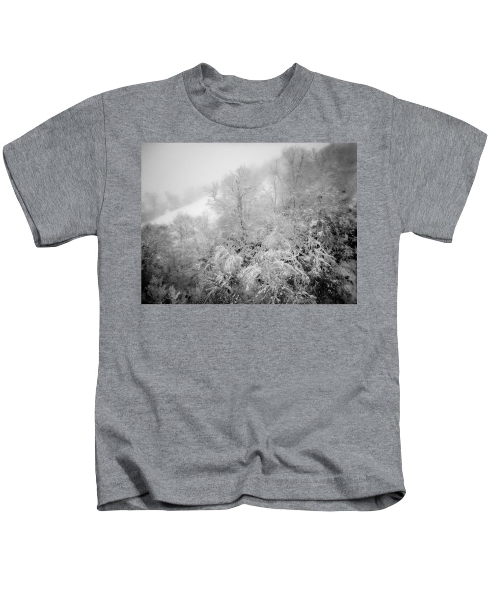 Abstract Kids T-Shirt featuring the photograph Abstract Scenes At Ski Resort During Snow Storm by Alex Grichenko