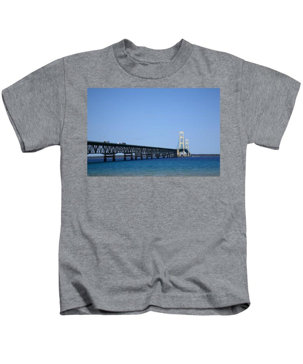 America Kids T-Shirt featuring the photograph Mackinac Bridge by Frank Romeo