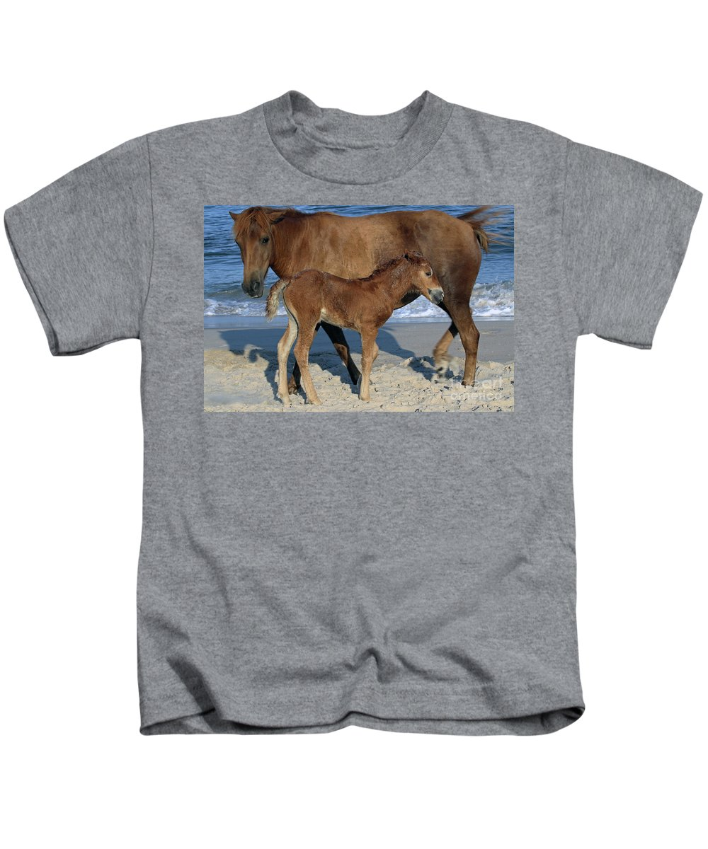 Horses Kids T-Shirt featuring the photograph 554a by Timm Andrews