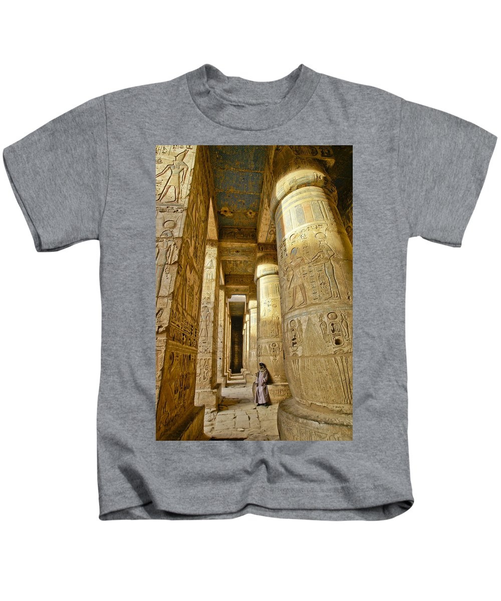 Egypt Kids T-Shirt featuring the photograph Colonnade In An Egyptian Temple by Michele Burgess