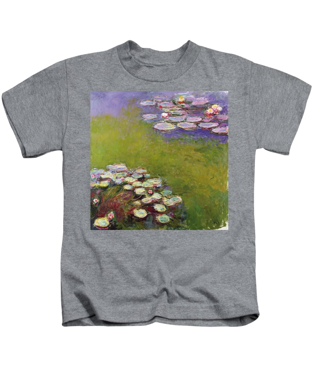 Claude Monet Kids T-Shirt featuring the painting Water Lilies by Claude Monet