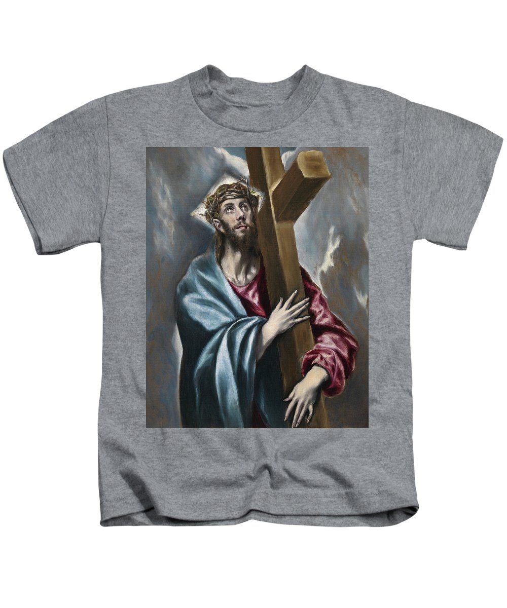 Christ Kids T-Shirt featuring the painting Christ Carrying The Cross by El Greco