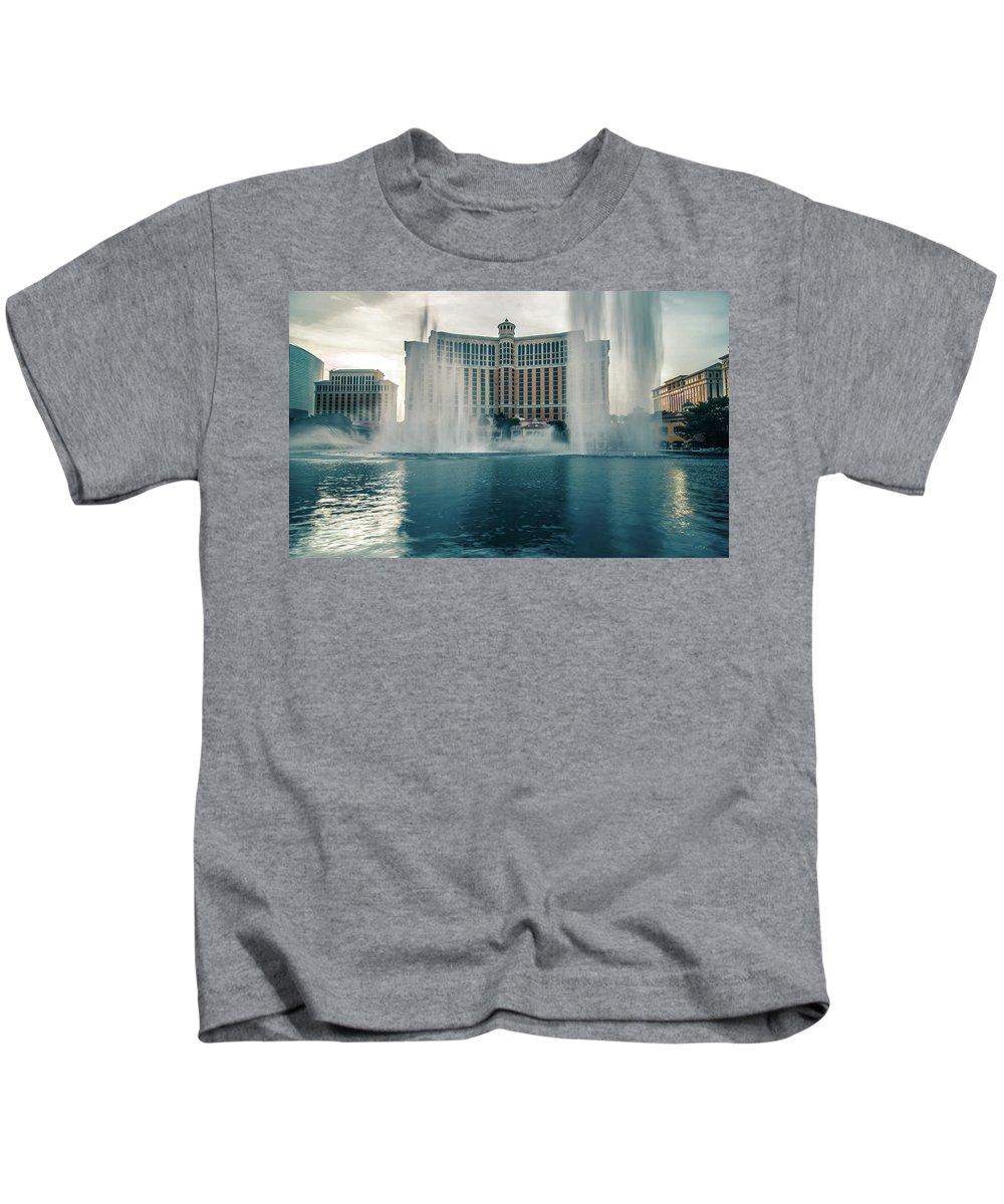 Hotel Kids T-Shirt featuring the photograph November 2017 Las Vegas Nv - Hotels And Restaurants On Las Vegas by Alex Grichenko