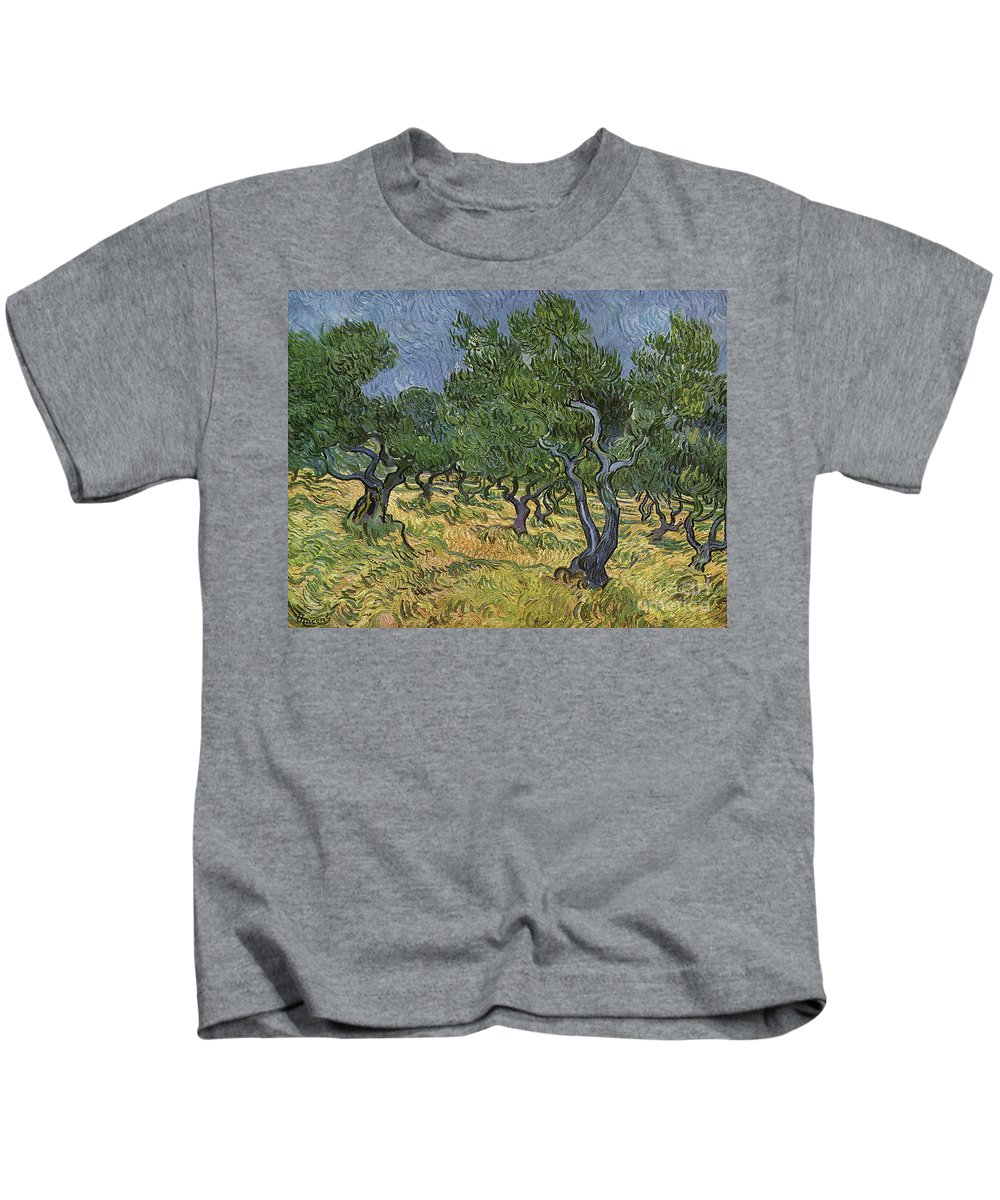 Vincent Van Gogh Kids T-Shirt featuring the painting Olive Orchard by Vincent Van Gogh