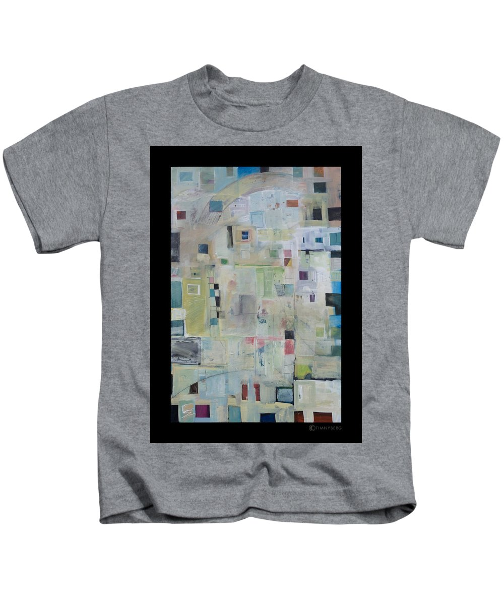 Abstract Kids T-Shirt featuring the painting 7am In The City That Doesn by Tim Nyberg