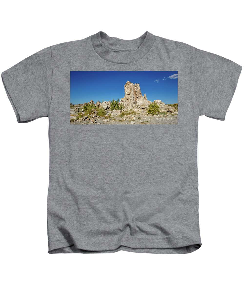 395 Kids T-Shirt featuring the photograph Natural Rock Formation At Mono Lake, Eastern Sierra, California, by Eiko Tsuchiya