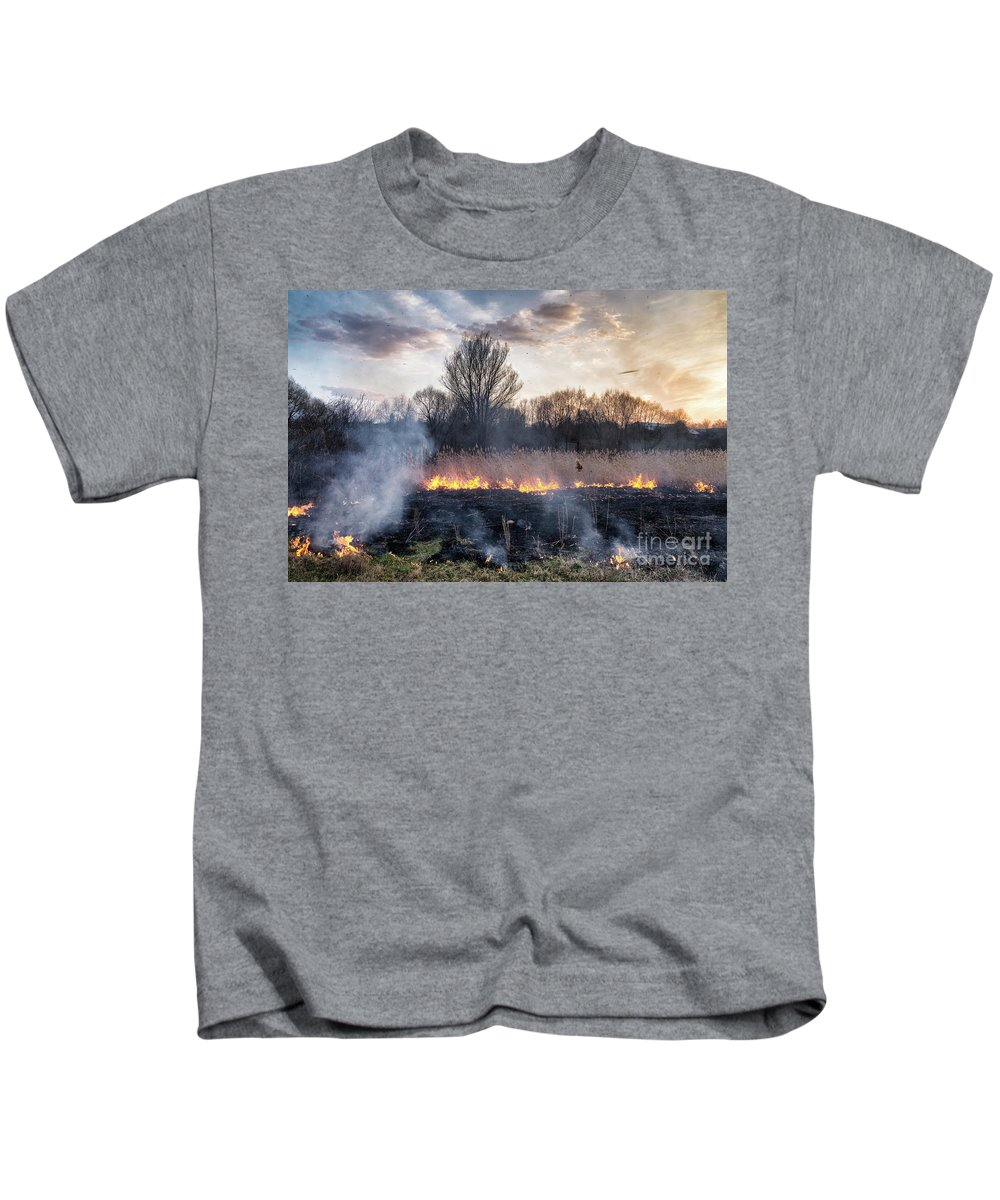 Nature Kids T-Shirt featuring the photograph Fires Sunset Landscape by Oleksandr Masnyi