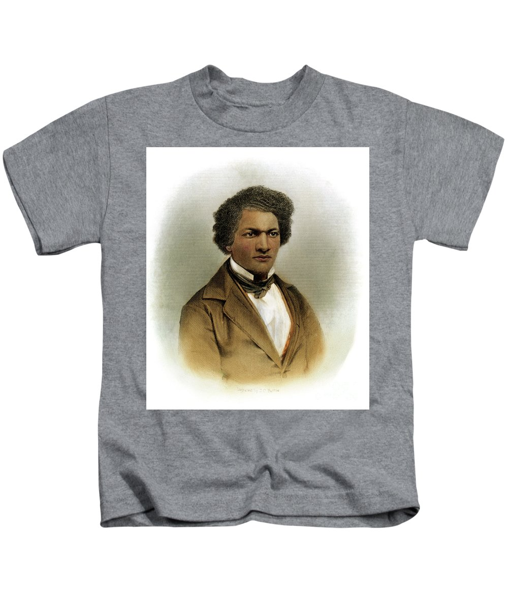 1854 Kids T-Shirt featuring the drawing Frederick Douglass by Granger