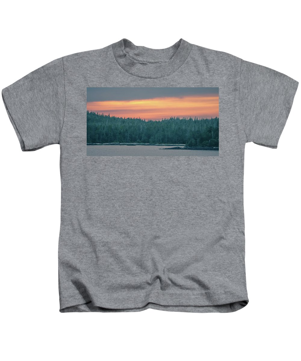 Sunset Kids T-Shirt featuring the photograph Sunset Over Alaska Fjords On A Cruise Trip Near Ketchikan by Alex Grichenko