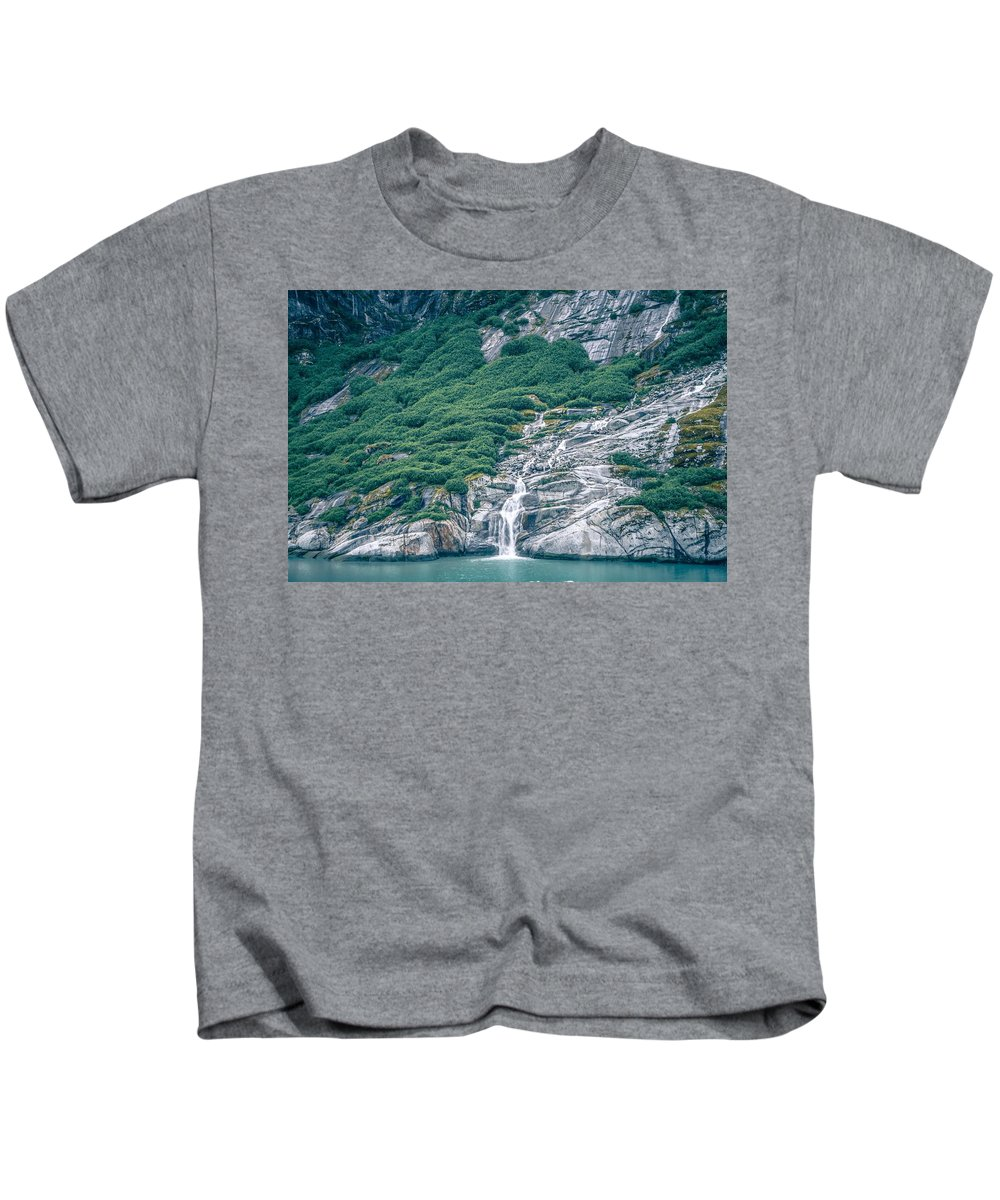 Water Kids T-Shirt featuring the photograph Waterfall In Tracy Arm Fjord, Alaska by Alex Grichenko