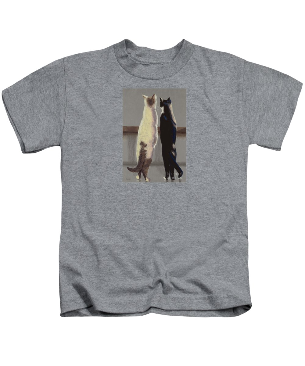 Cat Kids T-Shirt featuring the painting A Bird by Linda Hiller