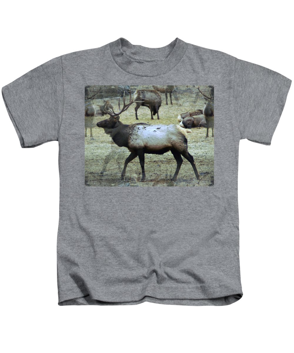 Elk Kids T-Shirt featuring the photograph A Bull Elk by Jeff Swan