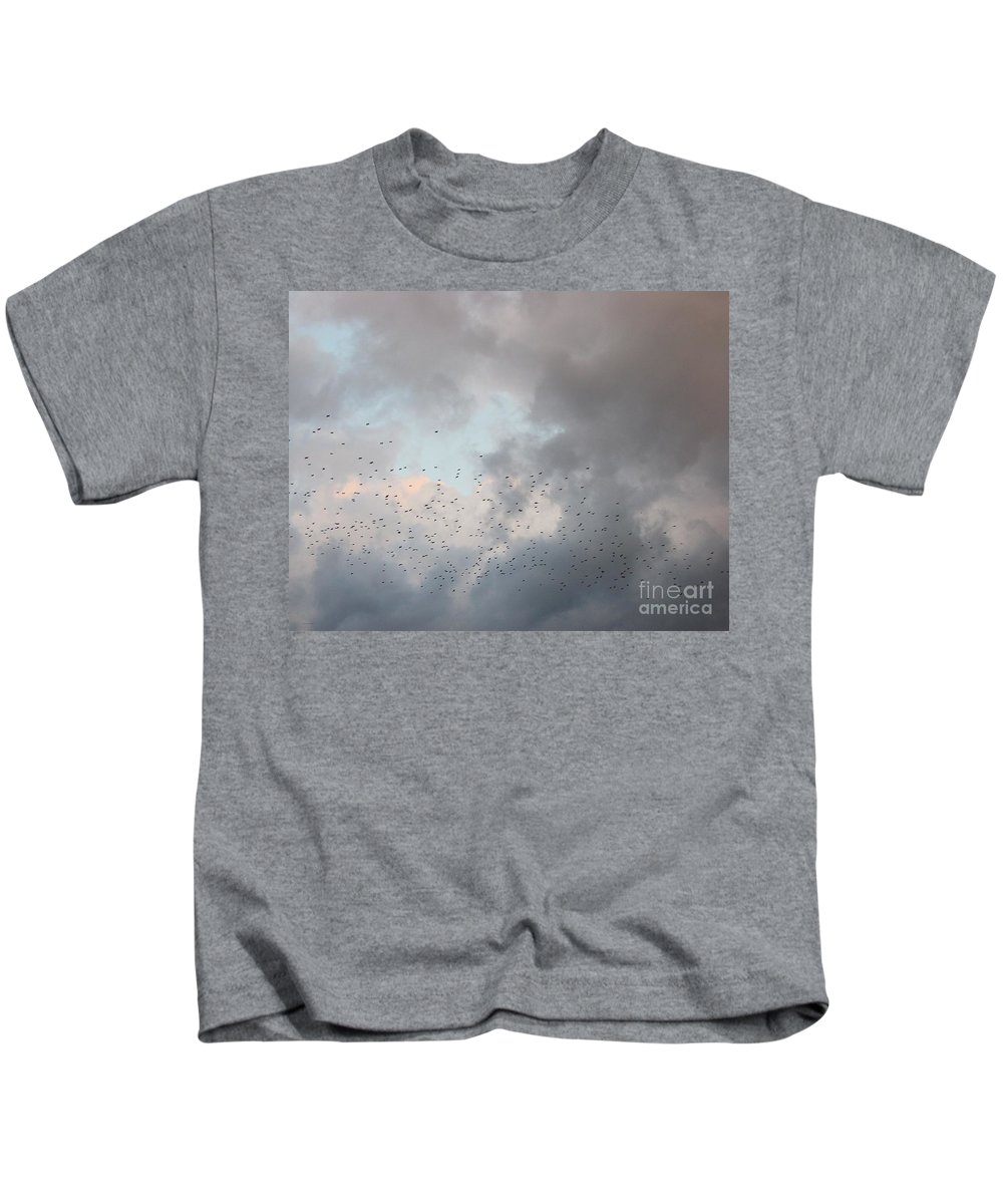 Johnnie Stanfield Kids T-Shirt featuring the photograph a Burst of Birds by Johnnie Stanfield