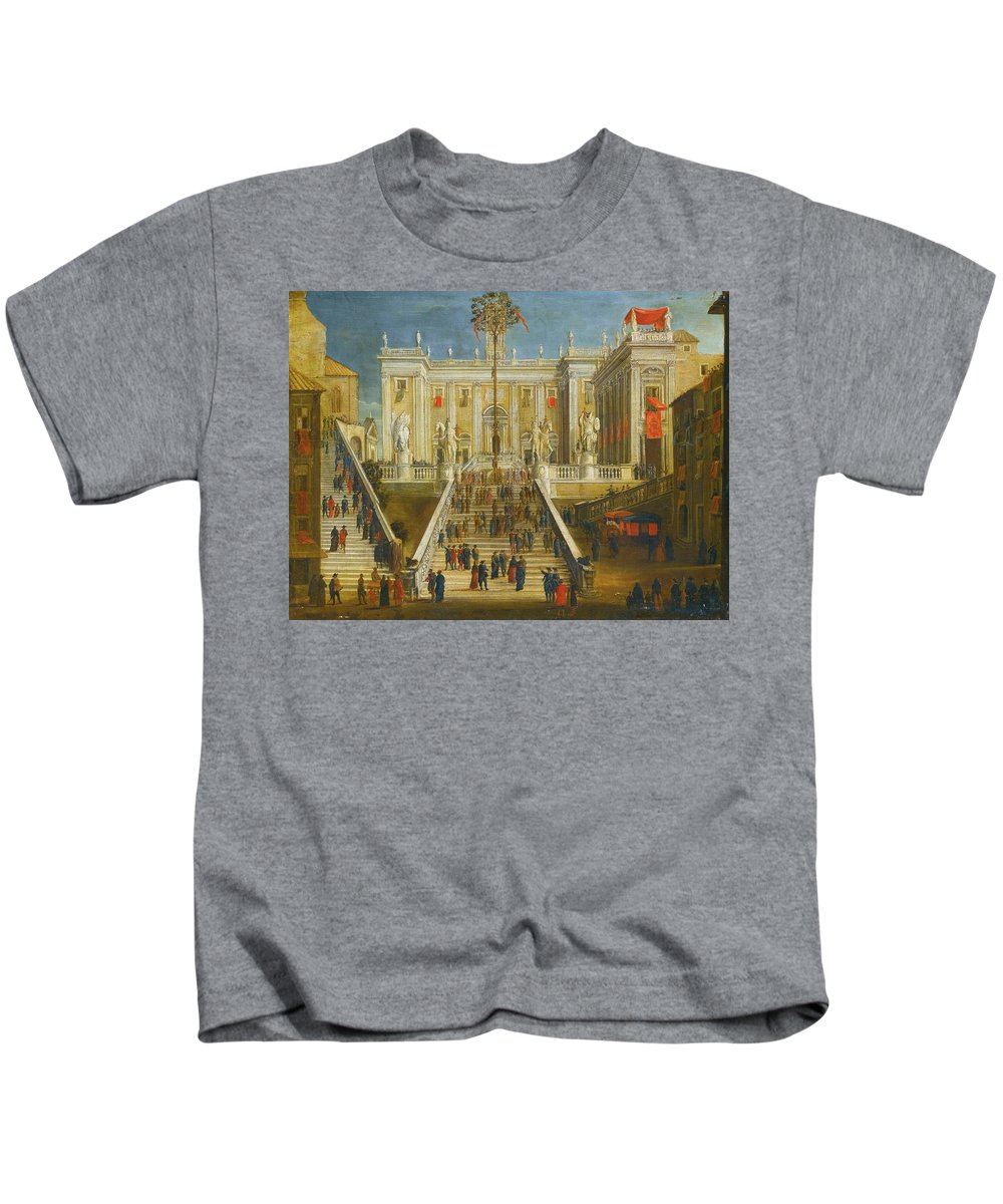 Roman School Kids T-Shirt featuring the painting A Capriccio View Of The Campidoglio by MotionAge Designs