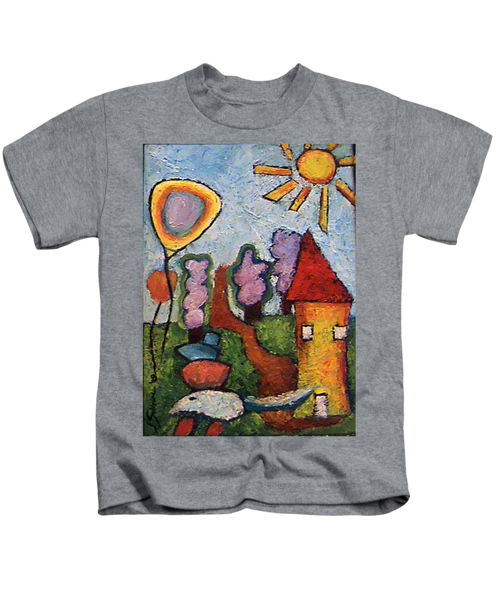 Landscape Kids T-Shirt featuring the painting A House And A Mouse by Ioulia Sotiriou