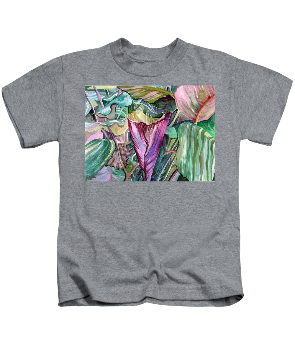 Garden Kids T-Shirt featuring the painting A Light In The Garden by Mindy Newman