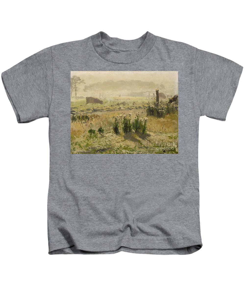 Hugo M�hlig Kids T-Shirt featuring the painting A Morning Mood by MotionAge Designs