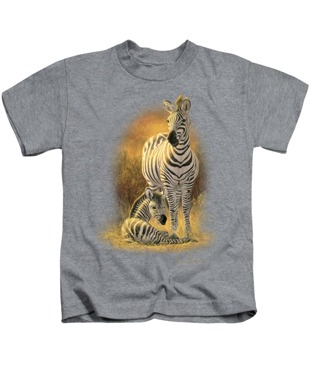 Burchell's Zebra Kids T-Shirt featuring the painting A New Day by Lucie Bilodeau